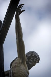 Figure of Jesus on the cross carved in wood by the sculptor Alvarez Duarte Holy Christ of the Estudiantes Linares, Jaen province, Andalusia, Spain